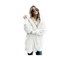 Grey Soft Fleece Woman Hooded Open Front Coat