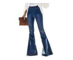 Fashion sky blue pantalones jeans women ladies bell ruffle bottom denim pants