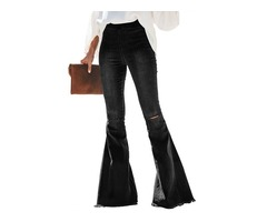 New design black high waist jeans women distressed bell wide bottom pants