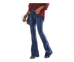 Fashion blue wash vintage wide leg ladies skinny legging spandex jeans