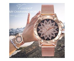 BEST SELLING FASHION WOMEN ROSE GOLD FLOWER RHINESTONE WATCH