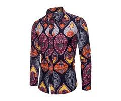 Tidebuy Lapel Colorful Print Mens Stylish Shirt