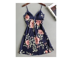 Single Print Floral Spaghetti Strap Womens Nightgowns