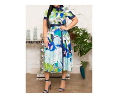 Mid-Calf Nine Points Sleeve Print High Waist Womens A-Line Dress
