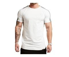 Round Neck Color Block Slim Mens T-Shirt
