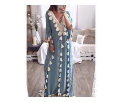 Floor-Length Tassel V-Neck Regular Womens Maxi Dress