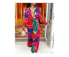 Print Color Block Straight High Waist Womens Jumpsuit