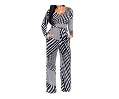 Color Block Striped Skinny Long Sleeve Womens Jumpsuit