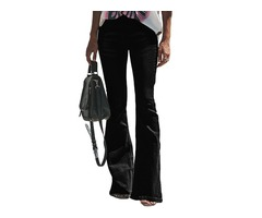 Wholesale black wash vintage wide leg high waist jeans clothing women