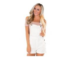 New design white stretch cotton short pantalones jeans pants women overalls