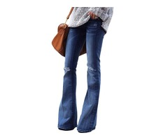 Fashion ripped knee detail classic big blue flared knee patch Jeans