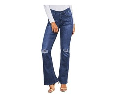 Fashion ripped knee detail classic big blue flared knee patch Jeans | free-classifieds-usa.com