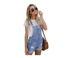 Cheap light blue jean overalls stretch cotton short sexy overalls