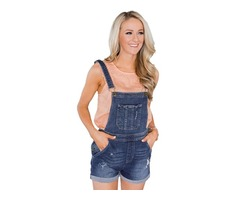 Navy blue jeans denim overalls stretch cotton women elegant short overalls