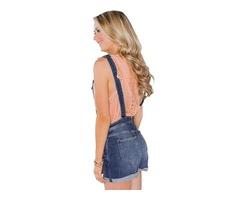 Navy blue jeans denim overalls stretch cotton women elegant short overalls  | free-classifieds-usa.com