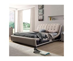 US Pride Furniture B8049-EK Victoria Leather Contemporary Platform Bed, Eastern King, Brown