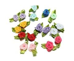 100 Ribbon Rose DIY Decor Wedding Flower Craft Sewing Leaves