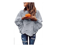 New Gray Wave Hem Long Batwing Sleeve Hollow Out Elegant Sweater For Women