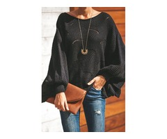 Black Wave Hem Long Batwing Sleeve Hollow Out Elegant Sweater