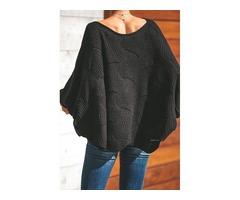 Black Wave Hem Long Batwing Sleeve Hollow Out Elegant Sweater  | free-classifieds-usa.com
