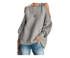 New Arrival Sexy Casual Shoulder Long Sleeves Pullover Sweater