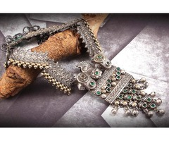 Dual Tone Peacock Design Necklace Set With Green Stone