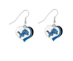 NFL Detroit Lions Jewel Heart Dangle Earrings