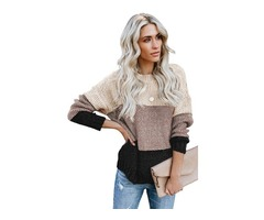 HESSZ new arrival fashion women color block netted texture pullover sweater