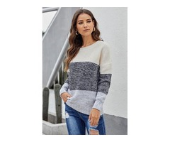 New Design Fashion Ladies Gray Color Block Netted Texture Pullover Sweater