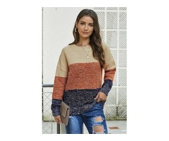 Fast Sale HESSZ Ladies Blue Color Block Netted Texture Pullover Sweater