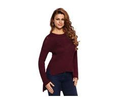 Ladies Burgundy Sheer Knit Tangled Long Tail Sweater