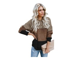 Women Breathable Khaki Color Block Netted Texture Pullover Sweater 2019