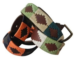 Embroidered Argentinean Unisex Polo Belt, Black & Orange or Multi Green Colored Threads For $55