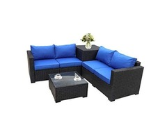 Conversation Sofa With Storage Table Royal Blue Cushion