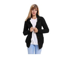 Button-up Women Fashion Long Sleeve Black With Inner Sherpa Hooded Cardigans With Side Pockets