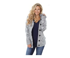New Style Winter Women Dark Gray Long Sleeve Button-up Hooded Cardigans