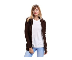 Best Sale Women Brown Long Sleeve Button-up Hooded Cardigans 2019