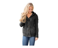 HESSZ Women Charcoal Long Sleeve Button-up Hooded Cardigans