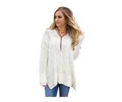 V neck Fashion Winter White Oversized Cozy up Knit Sweater