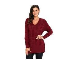 Last Fashion Wine Red Oversize Cozy up Knit Sweater For Women 2019