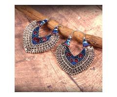 Classy Multi-Color Enameling Hoop Earring For Girls and Women