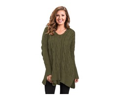 Winter And Autumn Ladies Army Green Oversize Cozy up Knit Sweater