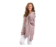 V-Neck Solid Color Fashion Oversize Cozy up Loose Knit Sweater Women