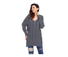 HESSZ High Quality Ladies Gray Oversize Cozy up Knit Sweater
