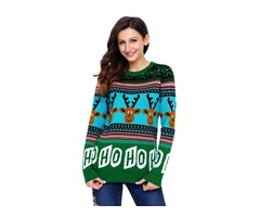 Fashion High Quality Cartoon Reindeer Green Christmas Sweater Pullover