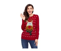 Hot Selling Fashionable Women Red Christmas Reindeer Sweater Pullover