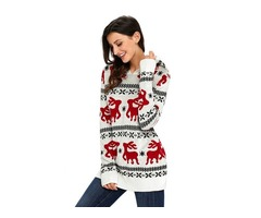 HESSZ Hot Sale Cute Christmas Reindeer Knit White Hooded Sweater For Women