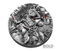 2019 Niue Great Commanders Leonidas 2 oz Silver Antique