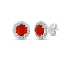 Red Onyx Stud Earrings 925 Sterling Silver - Stellar Designs - Black Friday Sale 2019