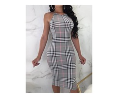 Knee-Length Sleeveless Patchwork Pullover Womens Bodycon Dress